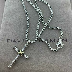 David Yurman Cable Cross with 18k Gold 2.7mm Chain